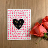 'This is Fine' Letterpress Card with Laser-engraved Heart Magnet