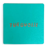 Photograph of a turquoise color swatch