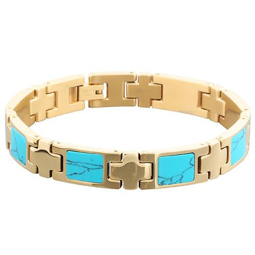 Yellow Gold Plated Turquoise Inlay Bracelet - Makani Hawaii Jeweler