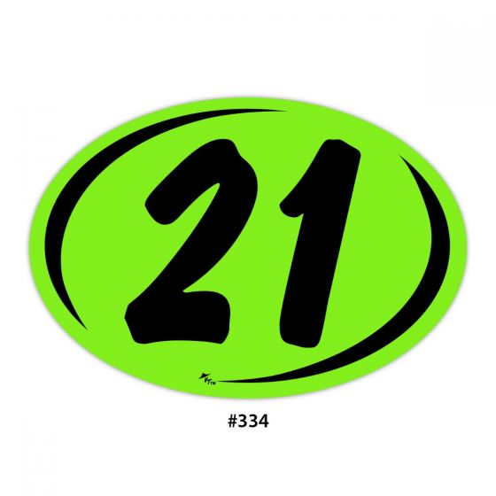 2 Digit Year Ovals - Chartreuse with Black (#334)