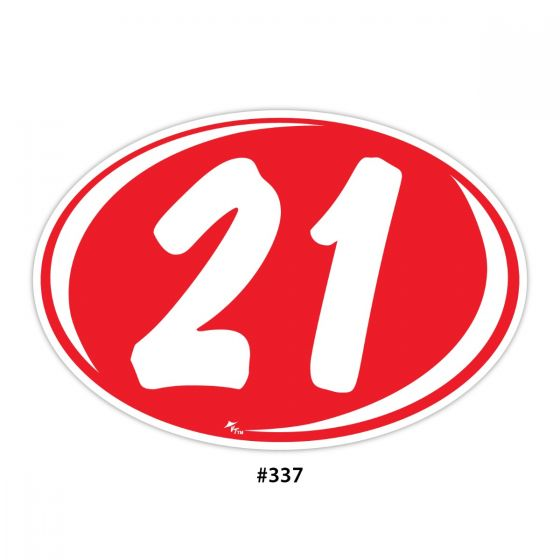 2 Digit Year Ovals - Red with White (#337)