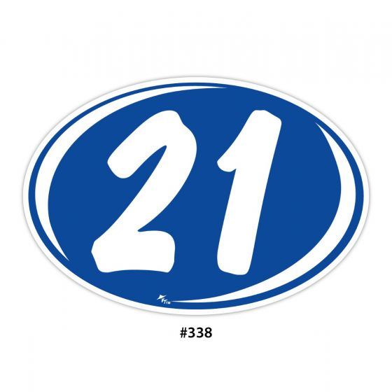 2 Digit Year Ovals - Blue with White (#338)