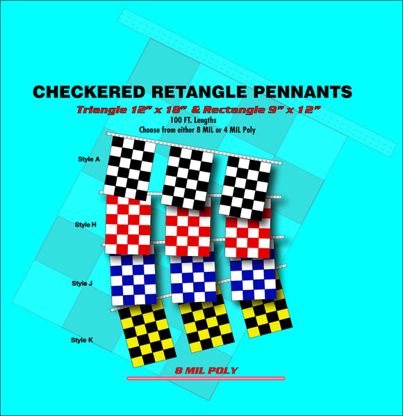 Checkered Retangle Pennants - PR 1008