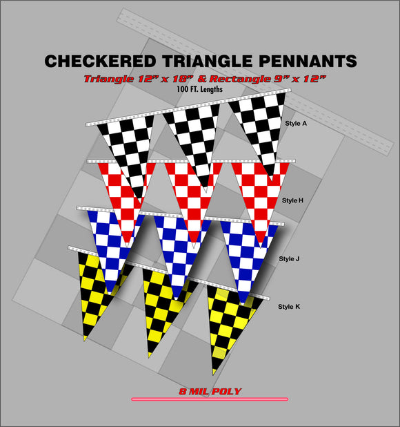 Checkered Triangle Pennants - PT 1008