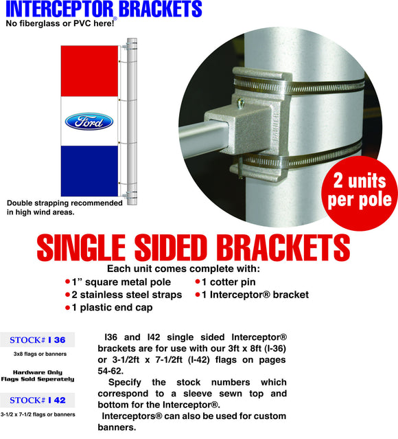 Single Sided Interceptor Flag Hardware Brackets