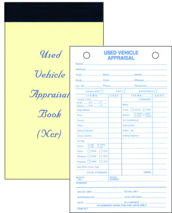 Used Vehicle Appraisal Pads (#SS-7)