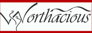 Red, white and black Worthacious logo