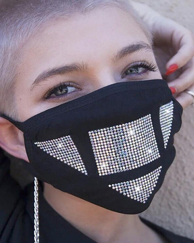 Black Abstract Bling Face Mask