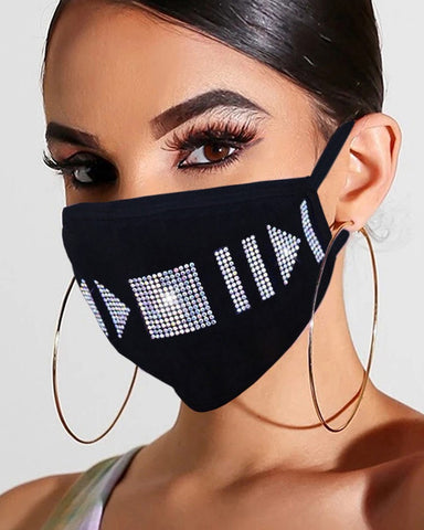The Black Side Abstract Bling Face Mask