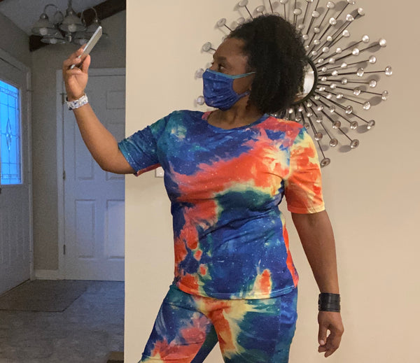 Dark Blue Multi 2 piece Tie Dye Pants Outfit w/Face Mask