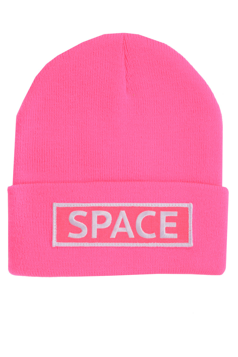 Space Knit Beanie~ Neon Pink