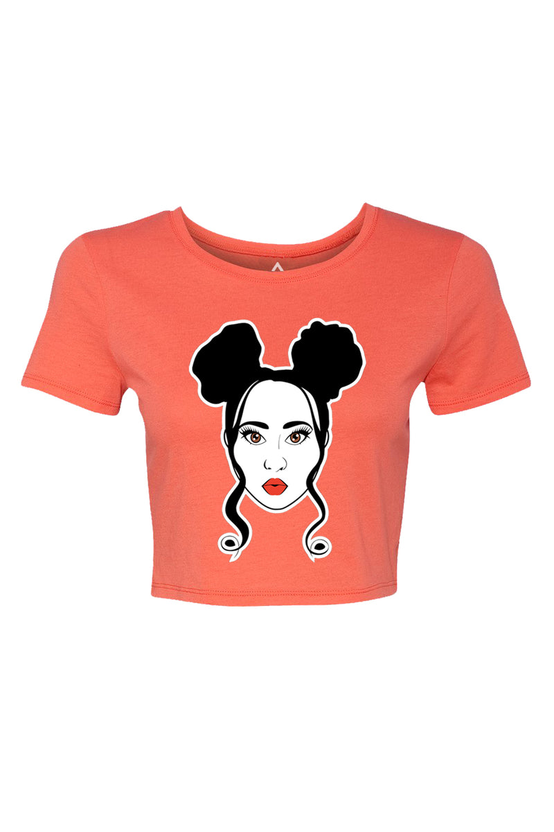 Double Bun Cropped Short Sleeve Shirt~ Coral