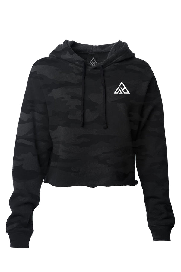 Vortex Lightweight Cropped Hoodie~ Camo Black