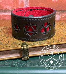 Roleplaying Dice Themed Leather Bracelet