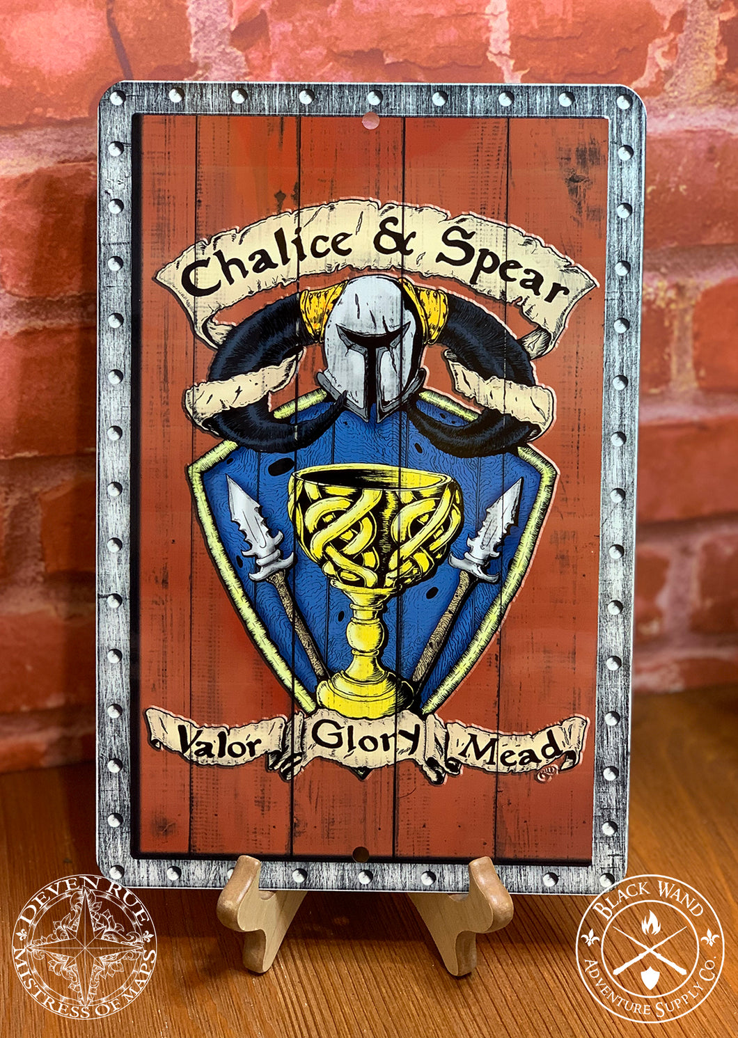 Chalice & Spear metal sign