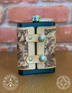 Illustrated Leather-Wrapped Flask