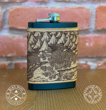 Load image into Gallery viewer, Illustrated Leather-Wrapped Flask