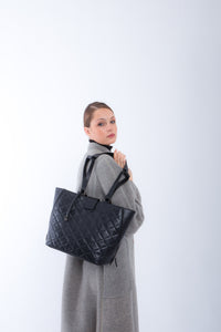 Handbag | Tote | Backpack | Quilted | Black |  100% Italian leather | Handcrafted | Greece |