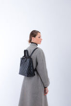 Load image into Gallery viewer, Handbag | Tote | Backpack | Quilted | Black |  100% Italian leather | Handcrafted | Greece |
