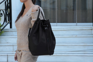 Backpack | Black | 100% Italian leather | Handcrafted | Greece |