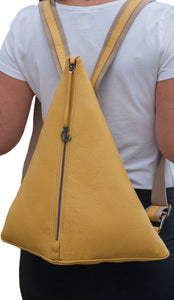 Backpack | Yellow | Patented 100% Italian leather | Handcrafted | Greece |