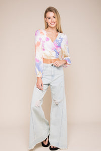 Tie-Dye Open Back Crop Top - Sofie Grey
