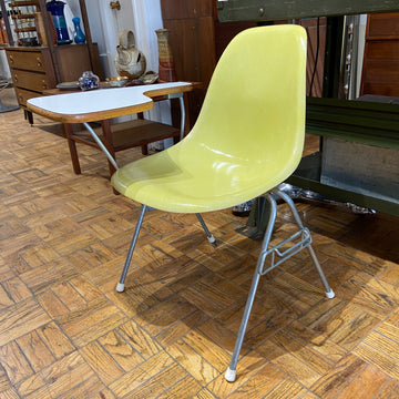 Yellow Eames Fiberglass Shell Chair with Desk