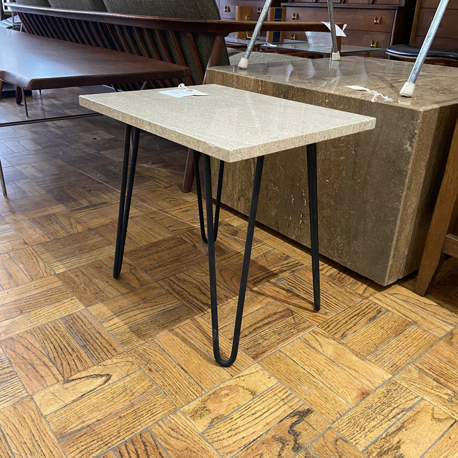 Travertine Top Side Table