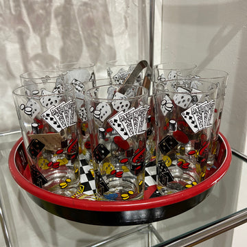 Hazel Atlas Casino Theme 11 Piece Beverage Set