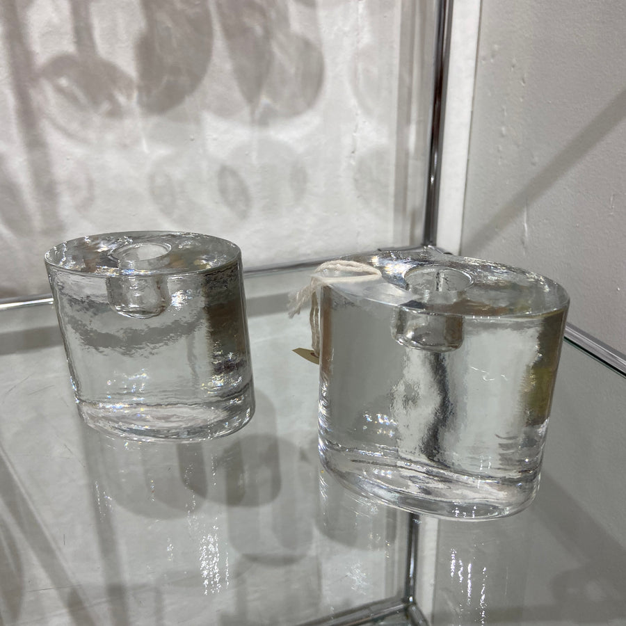 Set of 2 Blenico Oval Crystal Candle Holders
