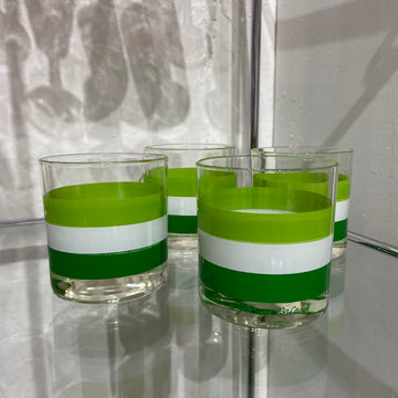 Set of 4 Georges Briard Green Banded Glasses