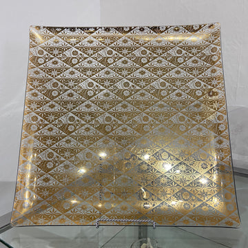 Square Gold Diamond Pattern Glass Tray