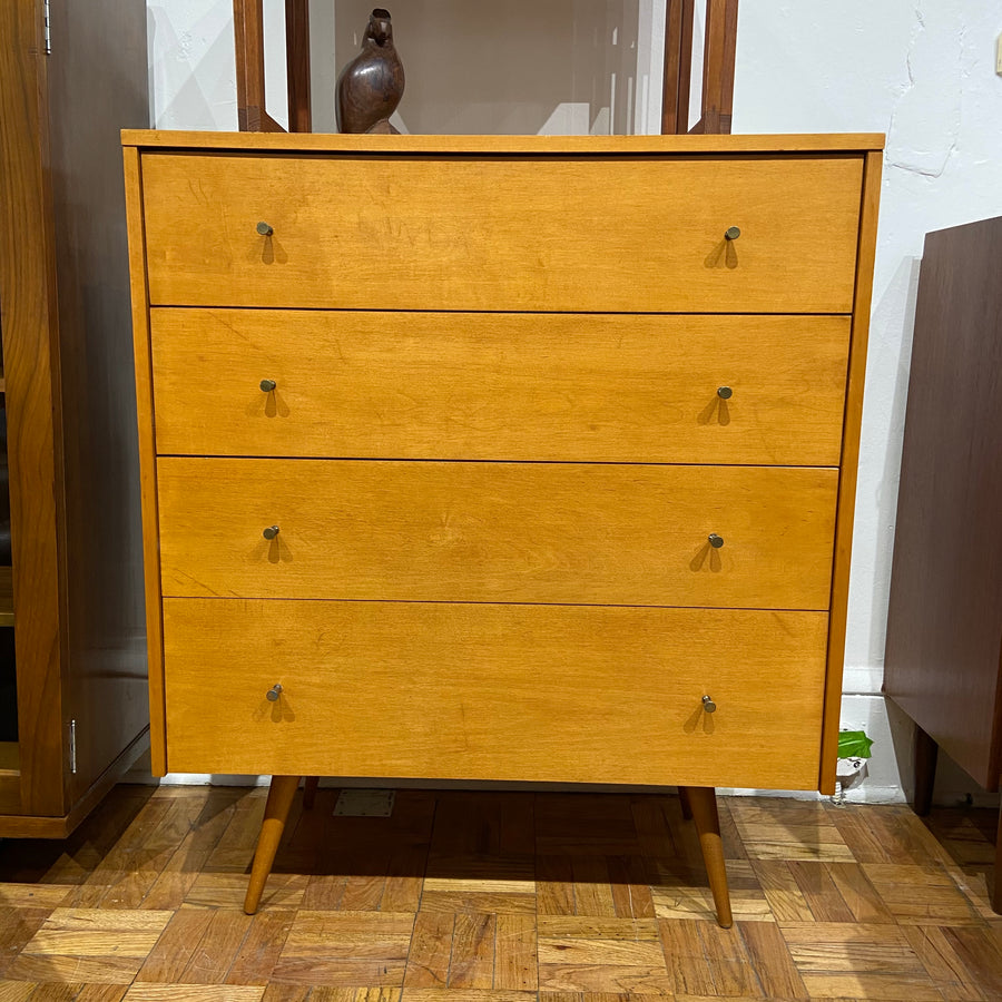 Blond wood Paul McCobb four drawer dresser.