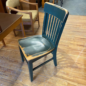 1930's Dark Green Oak Slat Back Chair