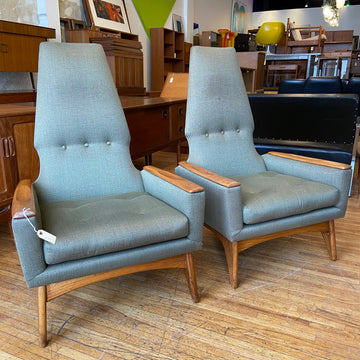 Pair of Kroehler High-Back Lounge Chairs