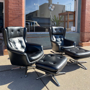 Mod Black Vinyl Lounge Chair and Ottoman