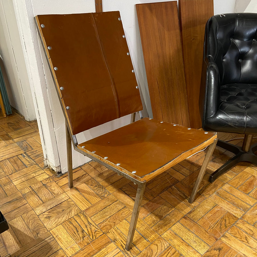 Wood, Leather and Steel Chair