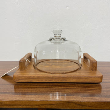 Cheese Dome with Wood Handled Tray