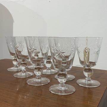 Set of 8 Starburst Wine Glasses