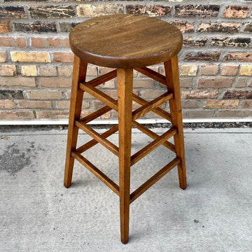 Vintage Wood Shop Stool