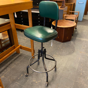 Vintage Swivel Green Drafting Stool