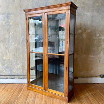 "Large c.1900 Antique Wood Display Cabinet (54""W)"