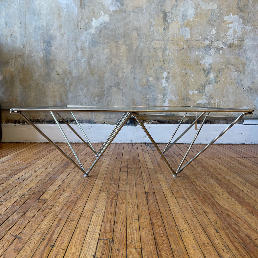 Paolo Piva Style Chrome & Glass Coffee Table