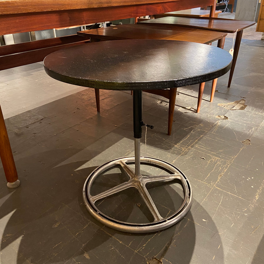 Industrial Base Table with Crude Black Top