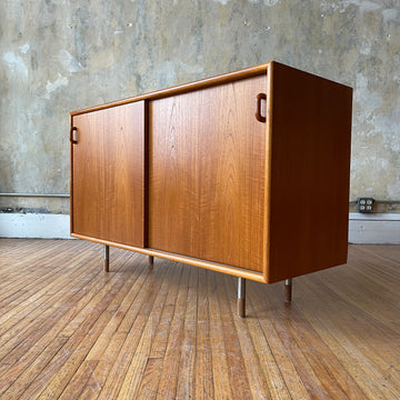 Danish Modern Sliding Two Door Cabinet