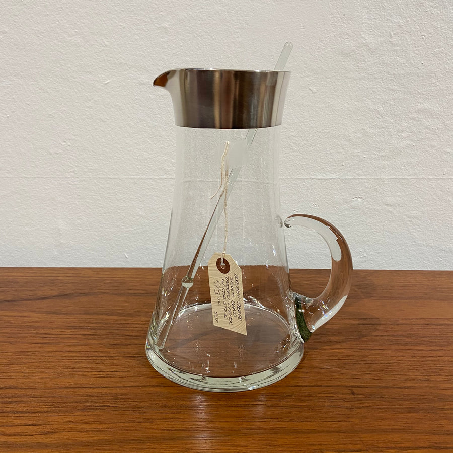 Dorothy Thorpe Silver Band Tapered Pitcher with Stir Stick