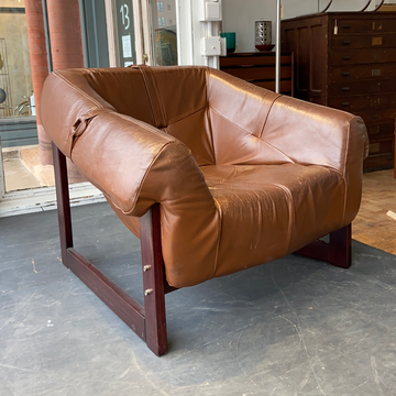 Brazilian Leather Rosewood Club Chair