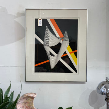 Framed Op Art - Black, White, Orange