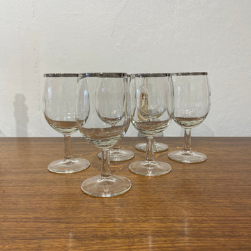 Set of 6 Silver Band Wine Glasses