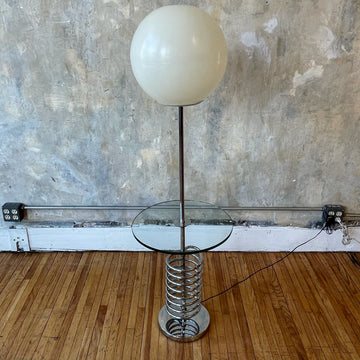 Sonneman Floor Lamp with Glass Side Table
